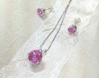 20% OFF Back2SchoolSale Pink Sapphire Necklace Earrings Set