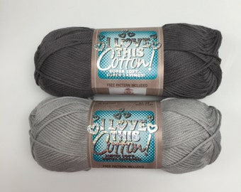 "DOVE and PEWTER Solid (Shades of Grey) -  ""I Love This Cotton"" Yarn by Hobby Lobby - 2 skeins"