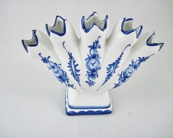 Five Finger Vase made in Portugal Blue Hand Painted on White Jay Willfred for Andrea by Sadek