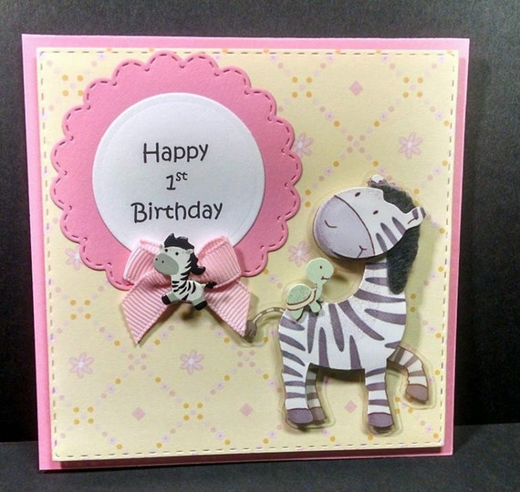 Zebra First Birthday Card Paper Zebra 1st Birthday Card