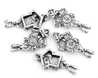 5 Pieces Antique Silver Cuckoo Clock Charms, 25 x 12mm