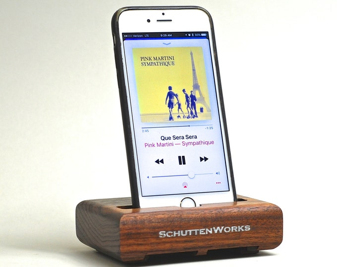 The EICHLER Dock in Walnut – Fits all iPhone Models  - Leave your Case on -- Boosts the Sound