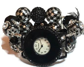 Sassy Black and White Chunky Beaded Watch - Interchangeable Watch - Apple Watch Band - BeadsnTime - Unique Watch - Bracelet Watch - Stretch
