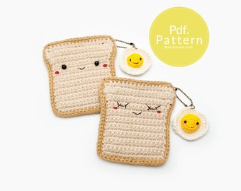 PDF. PATTERN - Bread with Fried Egg , Coin purse and keychain pattern,  Bag pattern, Crochet pattern.