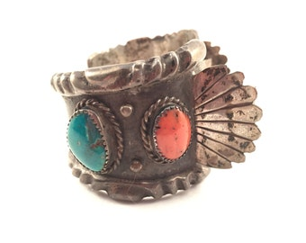 Vintage 4 oz Sterling Signed Navajo Turquoise and Coral Cuff