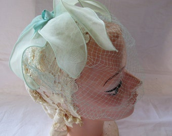 Vintage Aqua Fascinator 1950s Headpiece Hat Ribbon and Net