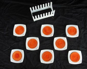 MidMod white acrylic and orange coasters -FREE SHIPPING in continental USA