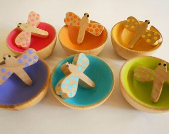 Wood montessori color matching wood sorting toddler toy color learning game eco friendly wood toy game with dragonflies and bowls