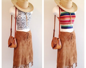 Vintage Southwest Suede Fringe Skirt Size 6