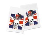 100% Egyptian Cotton Flour Sack Dish Towel Union Jack British Skull Crown Crow Fabulous (one towel)