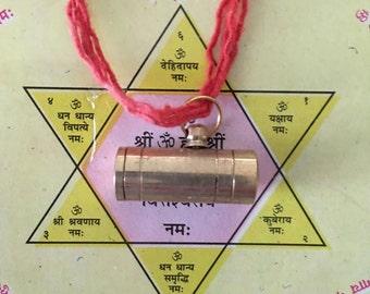 Temple Energized Lakshmi Kuber Kavach Amulet - Money Drawing - Wealth - 10,000 Mantras