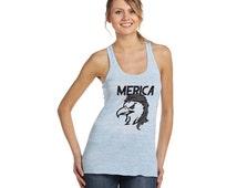 USA Eagle Mullet Merica America Workout Running Performance Ladies Women Flowy Racerback Tank Top B8800, HSCustom59