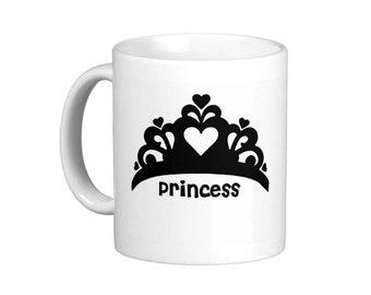 Princess Crown Black Tiara Coffee Mug, hs0101