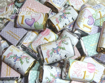 Carousel/Carnival Mini Candy Bar - Miniature Chocolate Favors - First (1st) Child Birthday, Baby Shower