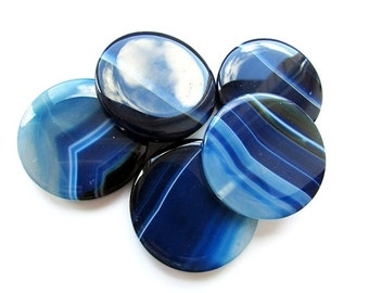 Large Ocean Blue Agate Beads 40 mm Round Gemstone Beads Center drilled  Supplies Jewelry making