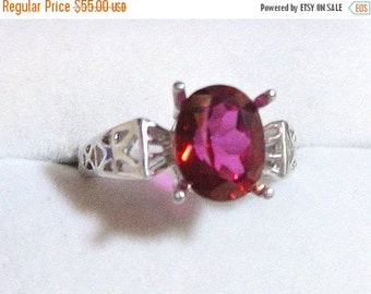 ON SALE 10x8 3 ct. Genuine Mystic Topaz Ring, Peony Red Ring 925 Solid Sterling Silver Size 6.25