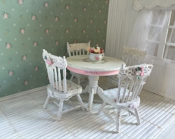 Shabby Chic dollhouse dining table & chairs - Free Shipping to the US