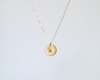 14k Gold-filled disc initial necklace