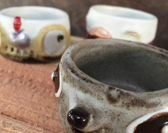 Duck Chicken Raccoon,Small cup , handmade ceramic