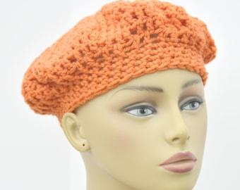 Women's French beret in carrot / Crochet fabric  hat / Winter hat / Teen's beret / Teen's hat / Gift under 20