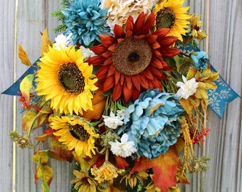 Smokey Teal and Rust Fall Sunflower Swag Wreath, Fall Teal Floral Wreath, Sunflower Fall Swag, Rustic Fall Floral Wreath, READY TO SHIP