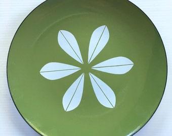 "Vintage 12"" Cathrineholm Norway Green Enameled Dish/Platter Lotus Large Size"