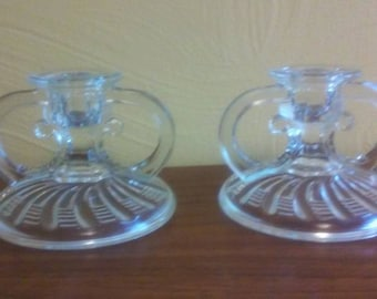 """Art Deco """"Clear"""" Pressed Glass Candlestick Holders - Excellent Condition"""