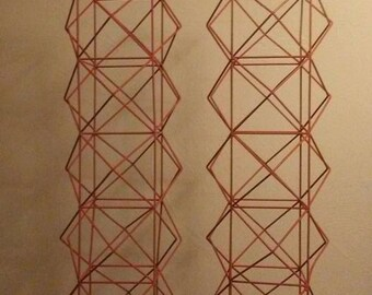 Pair of Orange Himmeli inspired Scandinavian Mid-Mod Geometric Tower Metal Art Sculptures from the 1960s