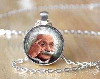 Albert Einstein Necklace - Science Necklace - Geekery L48