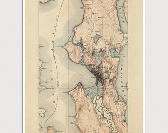 Old Seattle Map Art Print 1894 Antique Map Archival Reproduction USGS Topographic Map