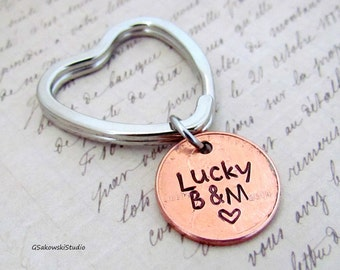 Lucky Penny Heart Couple Keychain, Personalized Antique Silver Penny Heart Charm Anniversary Keyring