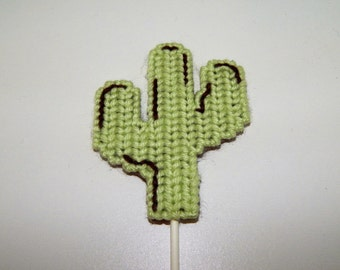 Hand Stitched Plastic Canvas Cactus Cupcake Topper