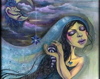 SALE - Moonlight Reverie - Original Art, moon, baby raccoon, protector, baby animal, art sale, howling at the moon, spirit animal