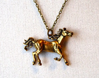 Detailed Gold Prancing Horse Necklace for Equestrians