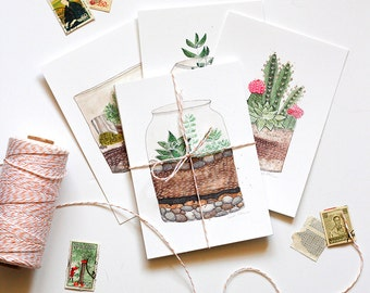 Succulent terrarium art postcards, Set of 4 botanical painting post cards, watercolor urban garden art