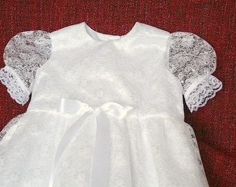 Heirloom Christening Gown, Christening Robe, White Baptism Gown, White Lace Christening Dress, Blessing Gown