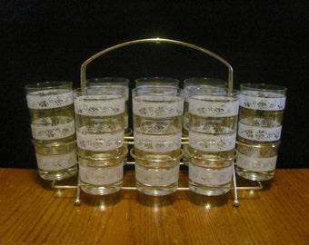 Todd White Gold Grapevine Iced Tea Glasses Brass Carrier