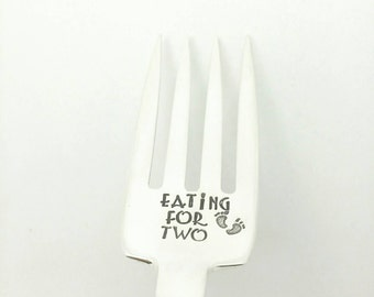 Eating for Two Stamped Fork, Pregnancy Gift