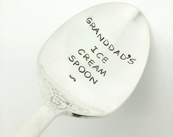 Granddad's Ice Cream Spoon Stamped Spoon, Gift for Dad, gift for Father, Gift for Grandpa, Gift for Him,  Gift for Granddad