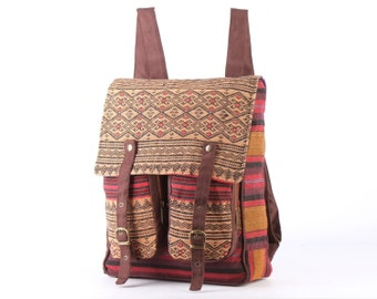 NAGA Ethnic Traditional Outdoor Backpack Rucksack Daypack Student Bag Vintage Folk Woven textile