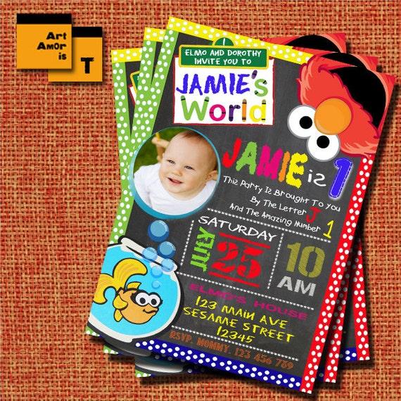 Elmo Invitation Elmo Birthday Invitation Sesame Street Elmo