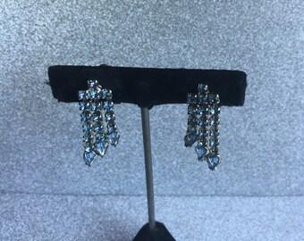 Vintage Pale Blue Rhinestone Earrings