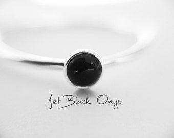 SALE-Black Onyx Stacking Ring, Onyx Ring, Natural Gemstone Ring, Yin and Yang, Onyx, Gemstone Stacking Ring, Black, Onyx Stone, Simple, Gift