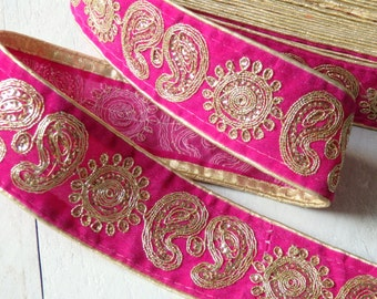 Sari border in hot pink with gold embroidered pattern - 1 yd., luxurious sari border, 55mm wide Indian pink and gold sequinned sari border