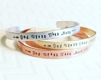 God Bless This Mess Bracelet - Hand Stamped Bracelet - Gift For Her - Thin Bangle Stacking Bracelets - Silver Aluminum Copper Brass Gold