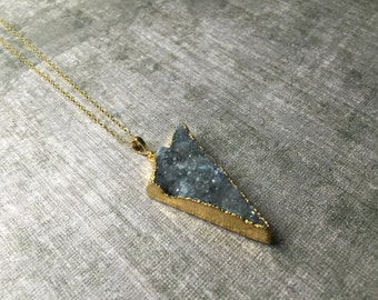 Blueish Grey Triangle Druzy Necklace