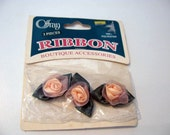 Tiny Roses Peach Small Roses, Miniature Flower Small Roses Rosette Satin Ribbon