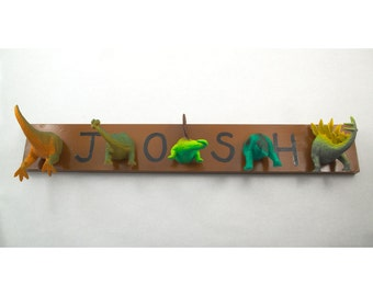 Personalized Dinosaur Heads or Tails Coat Rack (any color)