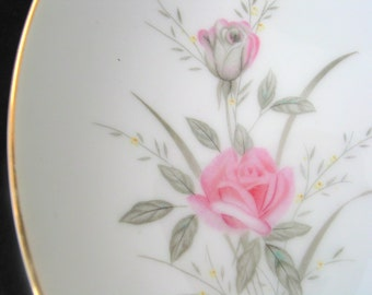 Fine China of Japan Golden Rose Coupe Soup Bowl with Pink Roses Mid Century Dinnerware Vintage 1960s