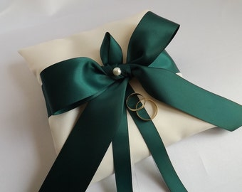 Forest Green Ribbon - Wedding Ring Pillow - Ring Bearer Pillows - Ring Cushion - Ivories or Whites - Duchess Satin - Emerald Bow